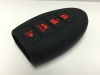 Black With Red Lettering 4 Button Intelligent Key Fob Cover