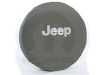 Silver Jeep logo Khaki Spare Tire Cover