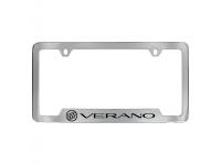 Chrome Finish License Plate Frame with Black Verano Logo