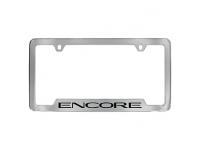 Chrome Finish License Plate Frame with Black Encore Logo