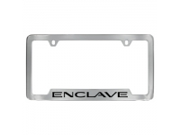 Chrome Finish License Plate Frame with Black Enclave Logo