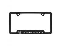 Black Finish License Plate Frame with Silver Verano and Tri Shield Logo