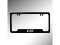 Black and White Cadillac Crest License Plate Holder