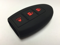 Black With Red Lettering 3 Button Intelligent Key Fob Cover