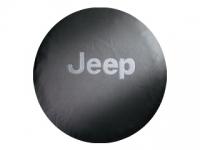 White Jeep Logo Black Denim Spare Tire Cover