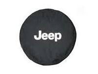 Silver Jeep Logo Black Spare Tire Cover