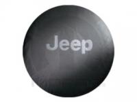 Gray Jeep Logo Black Spare Tire Cover