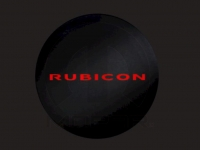 Red Rubicon Logo on Black Denim Spare Tire Cover
