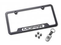 Mopar Logo Black License Plate Frame Set